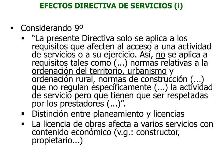 EFECTOS DIRECTIVA DE SERVICIOS (i)
