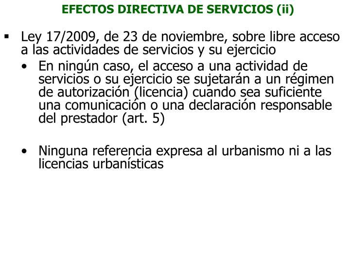 EFECTOS DIRECTIVA DE SERVICIOS (ii)