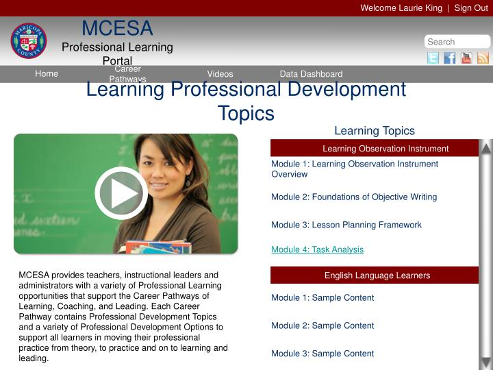 Learning Professional Development Topics