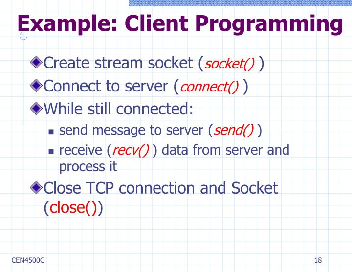 Example: Client Programming