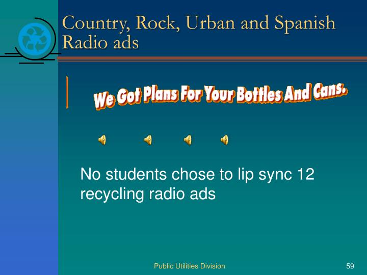 Country, Rock, Urban and Spanish Radio ads