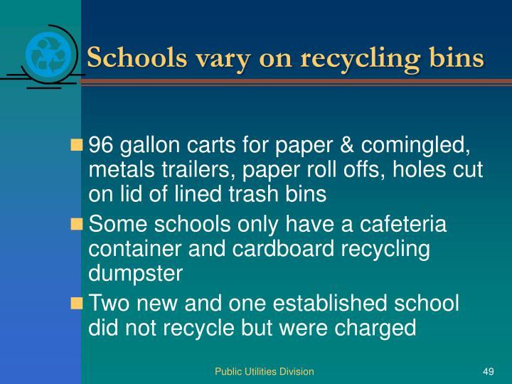 Schools vary on recycling bins