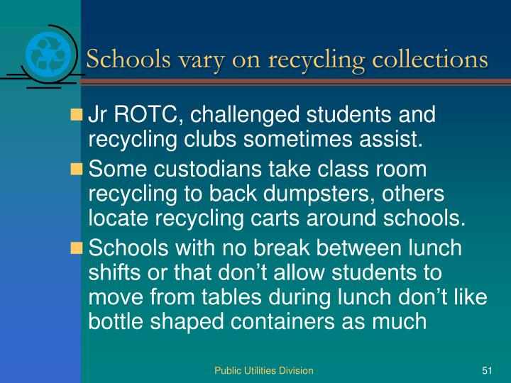 Schools vary on recycling collections