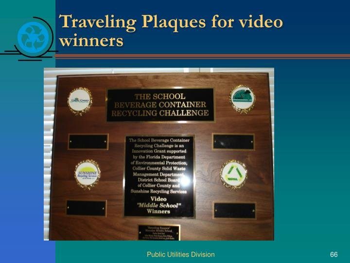 Traveling Plaques for video winners