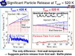 significant particle release at t wall 520 k