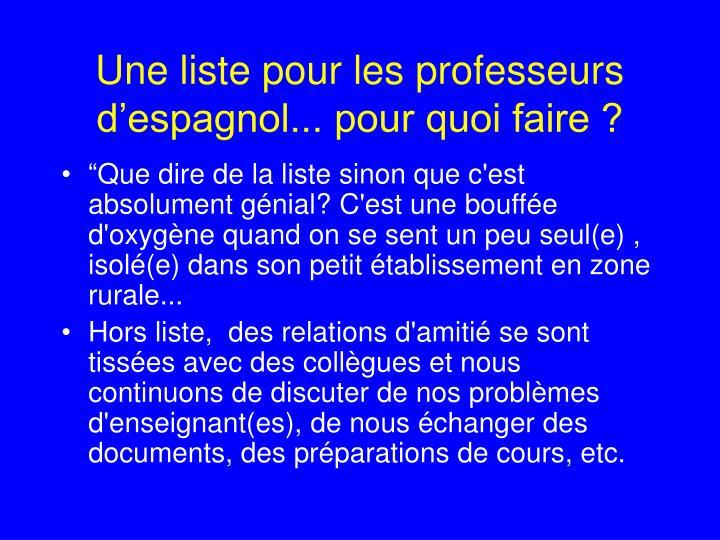 Une liste pour les professeurs d'espagnol... pour quoi faire ?