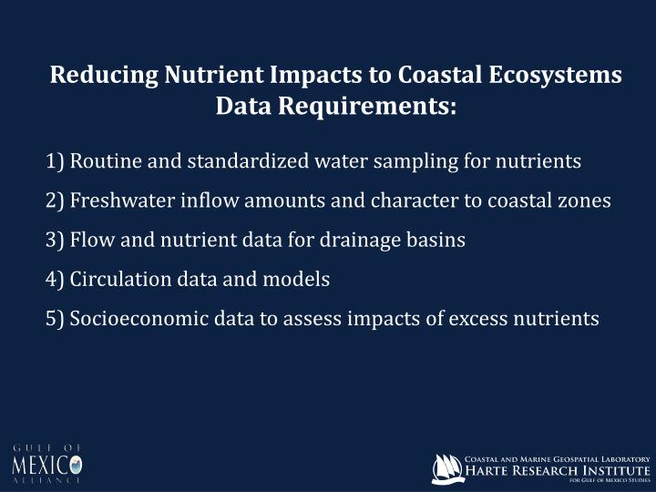 Reducing Nutrient Impacts to Coastal Ecosystems