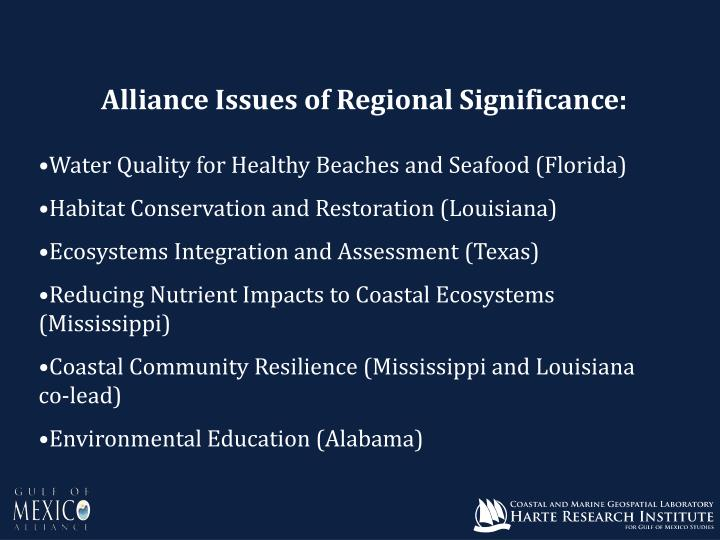 Alliance Issues of Regional Significance: