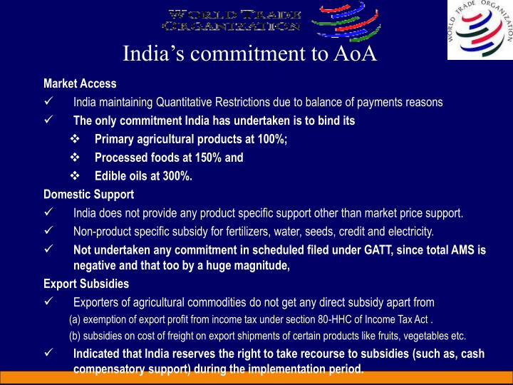 India's commitment to AoA