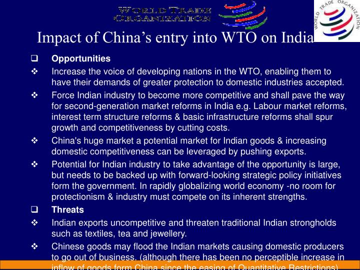 Impact of China's entry into WTO on India
