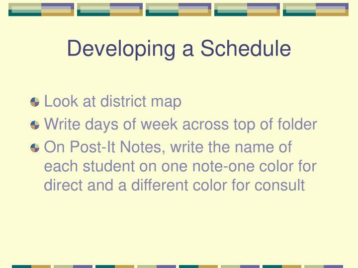 Developing a Schedule
