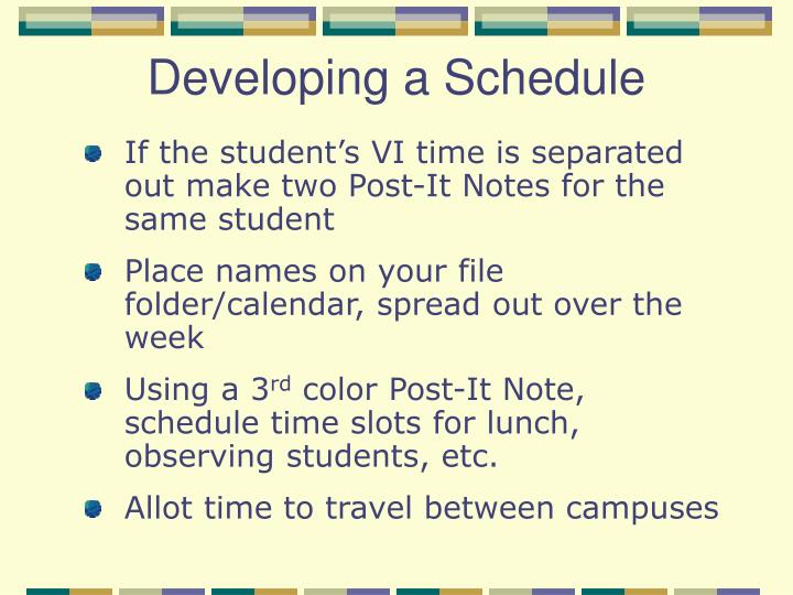Developing a Schedule