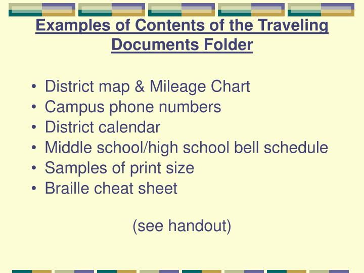 Examples of Contents of the Traveling Documents Folder
