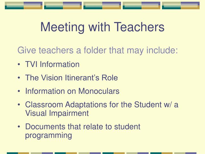 Meeting with Teachers