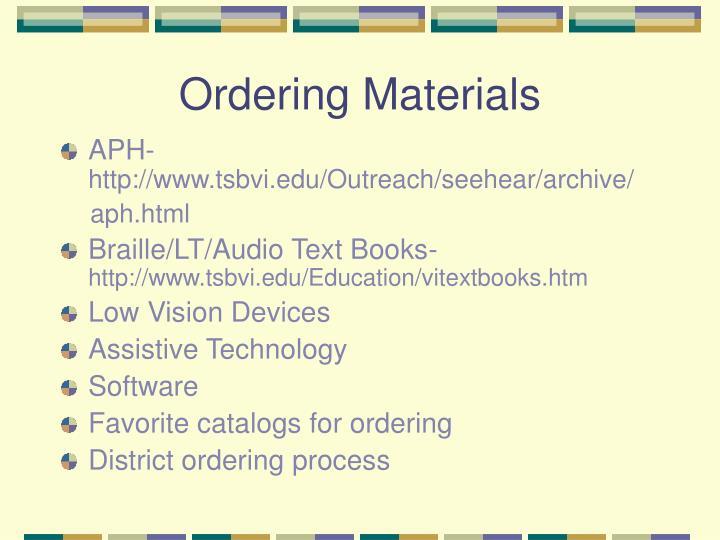 Ordering Materials