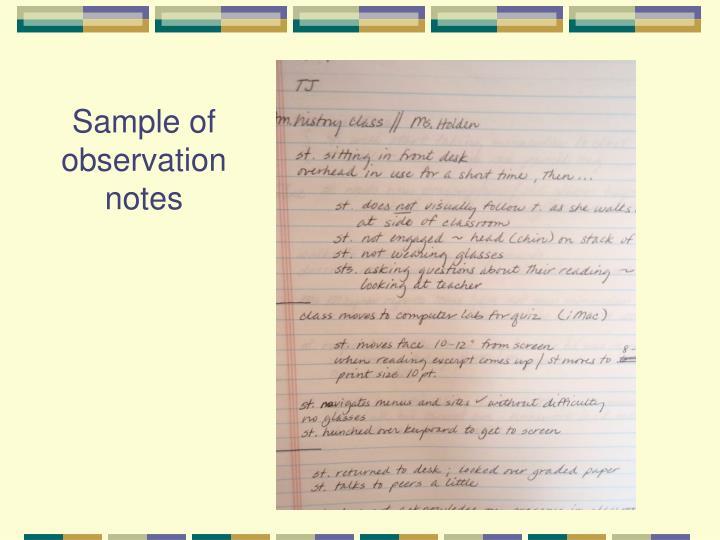 Sample of observation notes