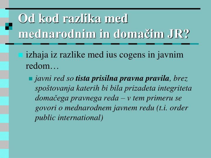 Od kod razlika med mednarodnim in domačim JR?