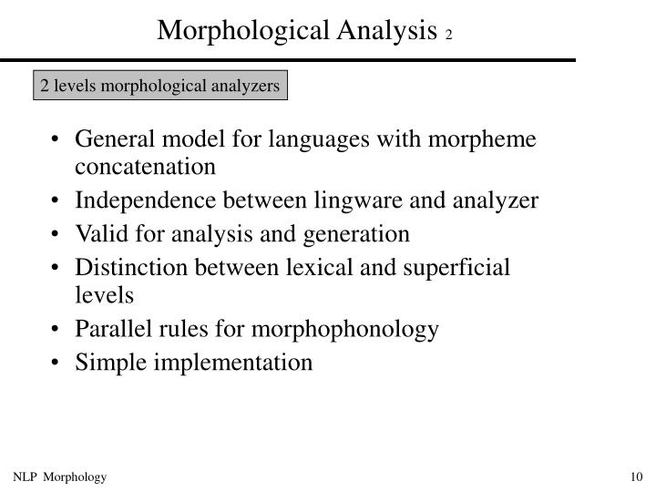 Morphological Analysis