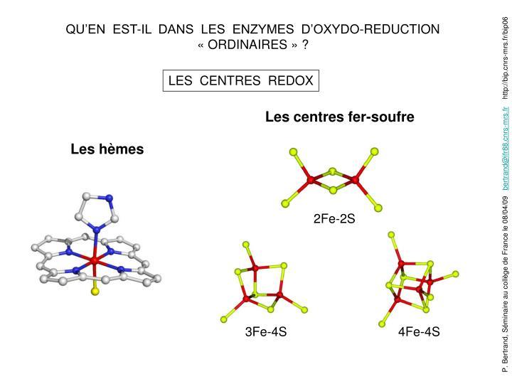 QU'EN  EST-IL  DANS  LES  ENZYMES  D'OXYDO-REDUCTION