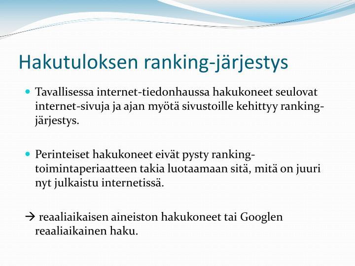 Hakutuloksen ranking-järjestys