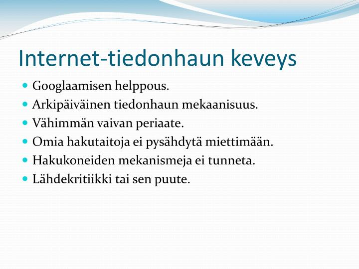 Internet-tiedonhaun keveys