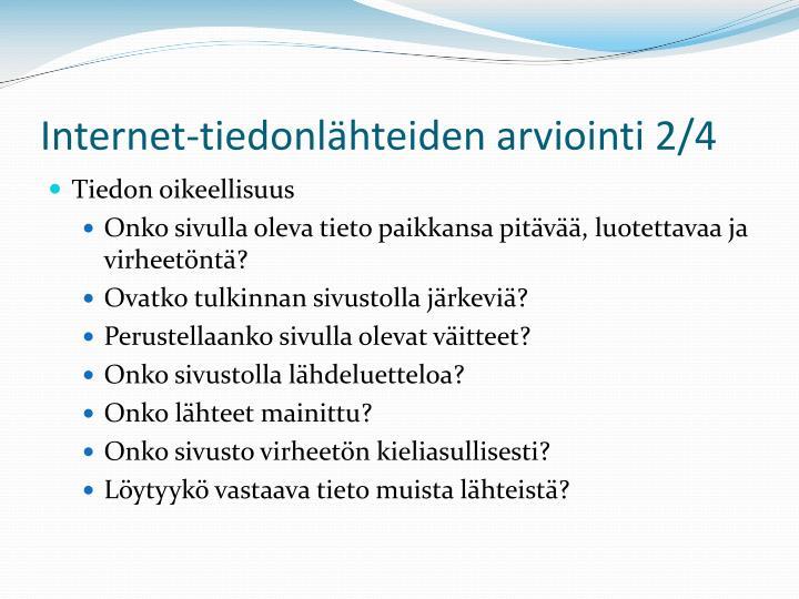 Internet-tiedonlähteiden arviointi 2/4