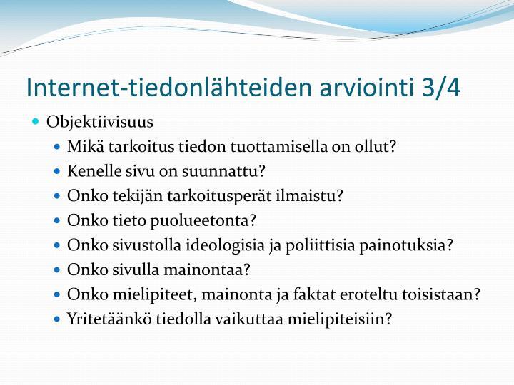 Internet-tiedonlähteiden arviointi 3/4