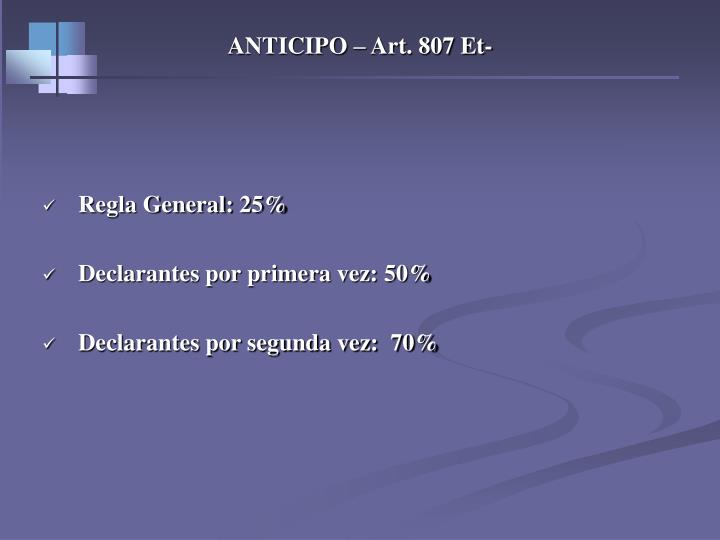 ANTICIPO – Art. 807 Et-