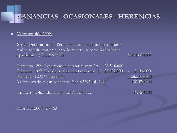 GANANCIAS   OCASIONALES - HERENCIAS