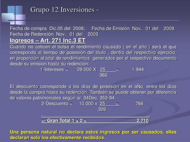 Grupo 12 Inversiones -