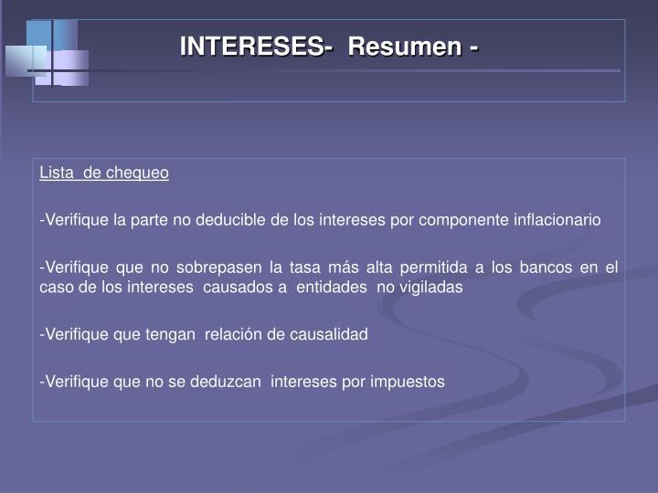 INTERESES-  Resumen -