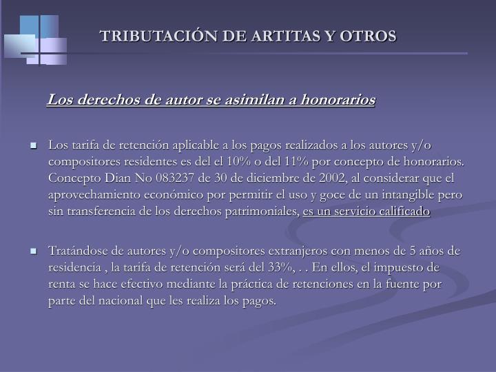TRIBUTACIÓN DE ARTITAS Y OTROS