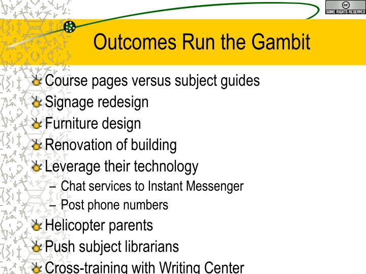 Outcomes Run the Gambit