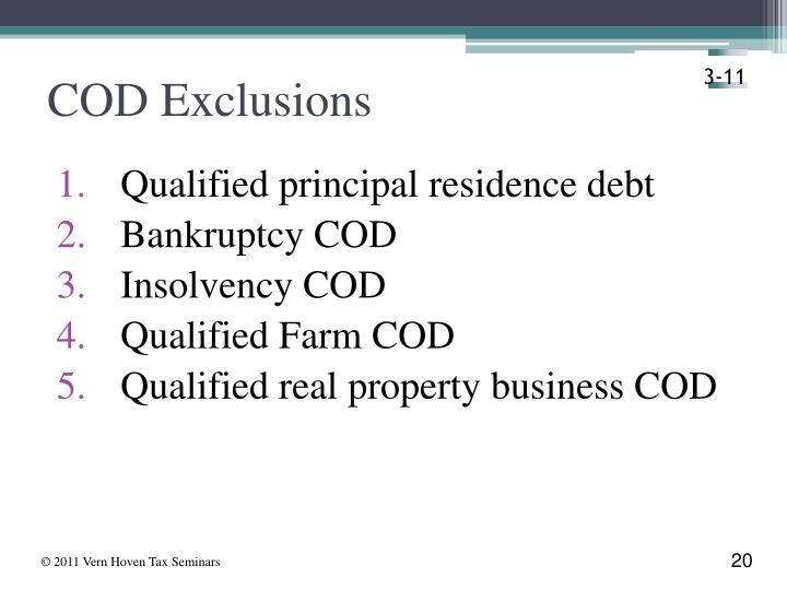 COD Exclusions