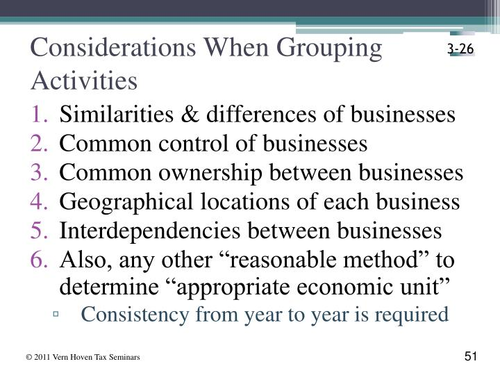 Considerations When Grouping  Activities