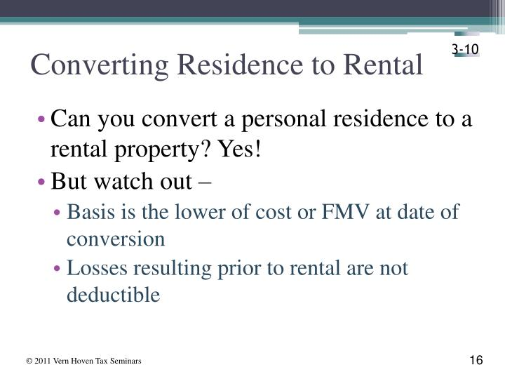Converting Residence to Rental