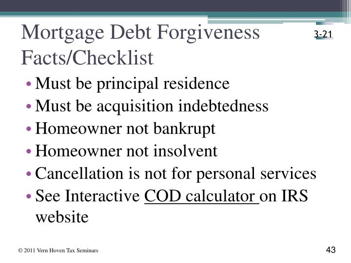 Mortgage Debt Forgiveness Facts/Checklist