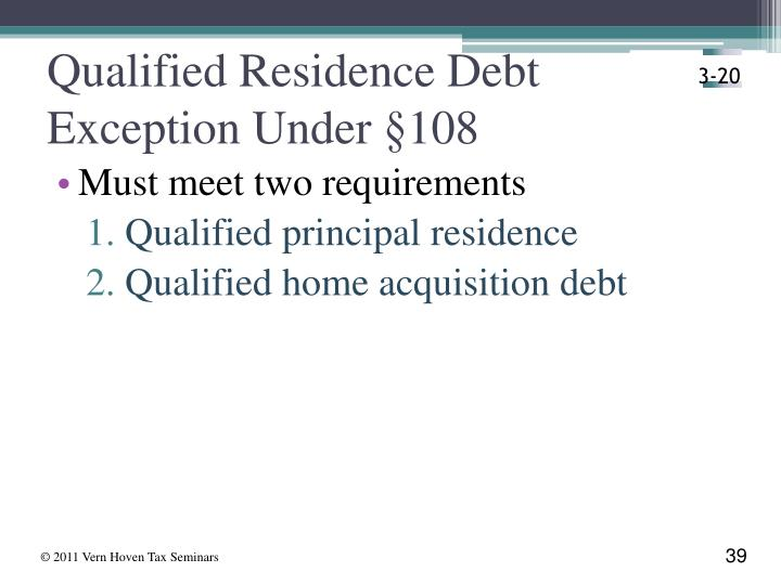 Qualified Residence Debt Exception Under §108
