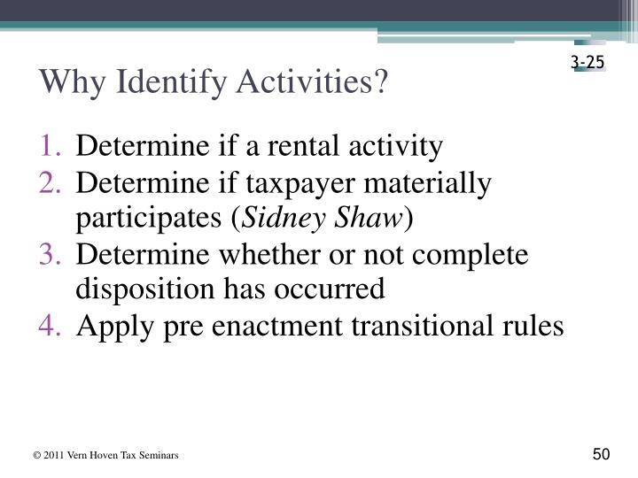 Why Identify Activities?