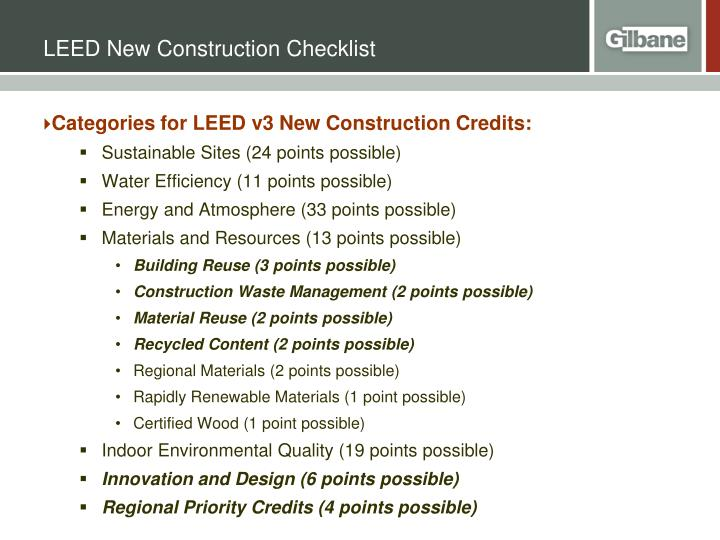 LEED New Construction Checklist