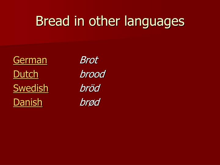 Bread in other languages