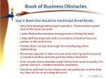book of business obstacles