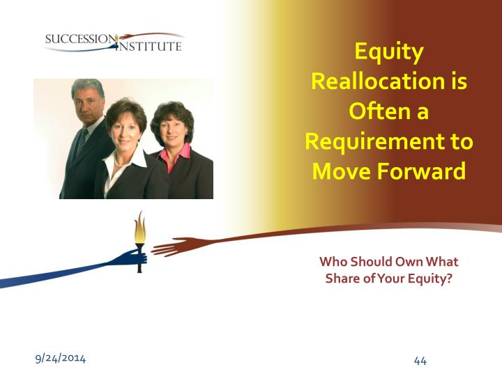 Equity Reallocation is Often a Requirement to  Move Forward