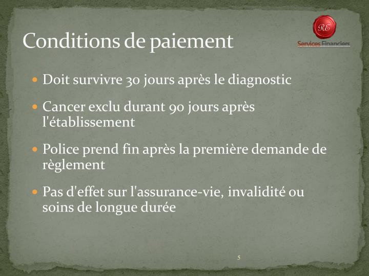 Conditions de paiement