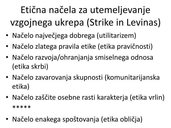 Etična načela za utemeljevanje vzgojnega ukrepa (Strike in Levinas)