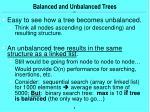 balanced and unbalanced trees