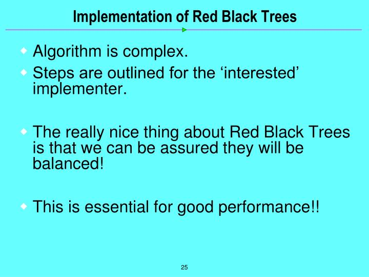 Implementation of Red Black Trees
