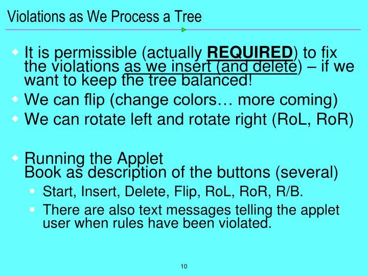 Violations as We Process a Tree