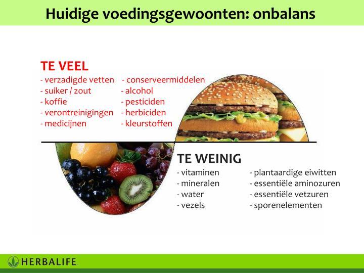 Huidige voedingsgewoonten: onbalans
