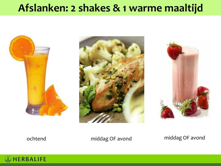 Afslanken: 2 shakes & 1 warme maaltijd